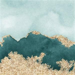 冷色调水彩晕染金箔纹理背景图片