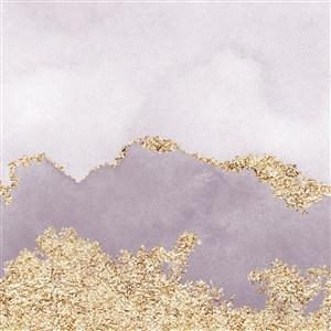 浅粉和浅紫色水彩晕染金箔纹理背景图片