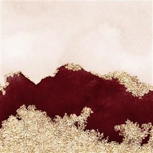 米色和深红棕色水彩晕染金箔纹理背景图片