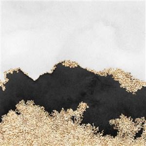 白底黑色金属水彩晕染金箔纹理背景图片