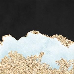 黑色水彩晕染金箔纹理背景图片