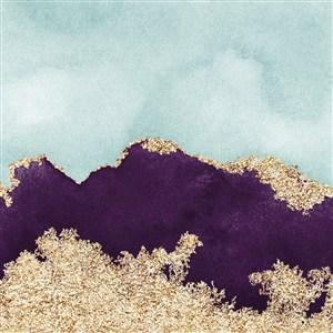 绛紫色和粉蓝色水彩晕染金箔纹理背景图片