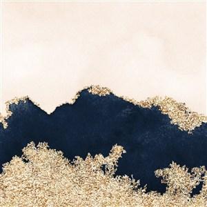 浅米色和黑色金属金色水彩晕染金箔纹理背景图片