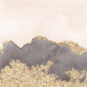 浅米色和灰色水彩晕染金箔纹理背景图片