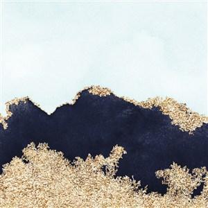 蓝色墨迹和黑色水彩晕染金箔纹理背景图片