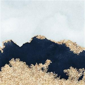 蓝色云层渐变和黑色水彩晕染金箔纹理背景图片