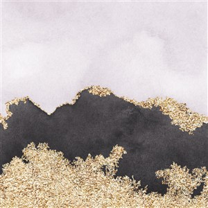 分紫色和灰色墨迹水彩晕染金箔纹理背景图片