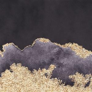 高清方形水彩晕染金箔纹理背景图片