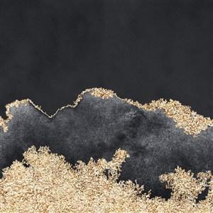 黑色和黑色墨迹方形水彩晕染金箔纹理背景图片