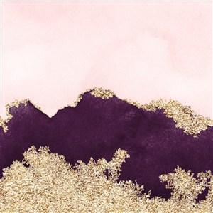 粉色金属金色水彩晕染金箔纹理背景图片