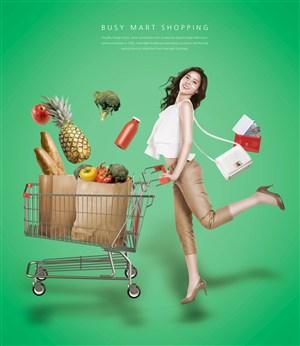 美女推购物车商场促销广告海报模板