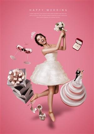 婚纱美女手捧鲜花礼物商场促销广告海报模板