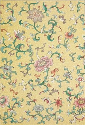 黄色背景中式传统纹样集锦中国风图片