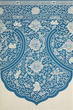 细致工笔画蓝色花绘中式传统纹样集锦中国风图片