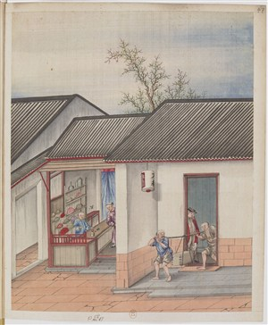 端货古代制茶贸易场景绘画图片