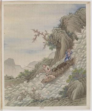 古代大水划船制茶贸易场景绘画图片