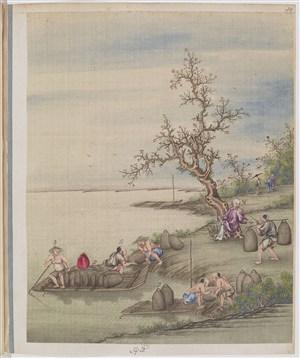 古代梅花边装货茶贸易场景绘画图片