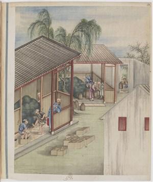 古代茶作坊制茶贸易场景绘画图片