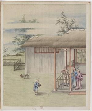 古代秀才聚会制茶贸易场景绘画图片