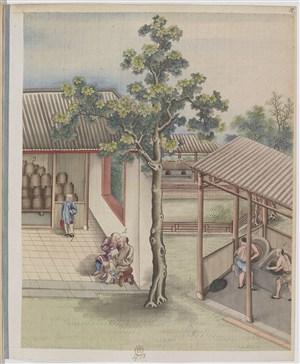 古代制茶作坊贸易场景绘画图片