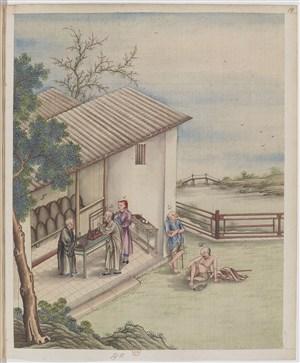 古代僧人买茶制茶贸易场景绘画图片