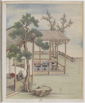 古代松树下休闲制茶贸易场景绘画图片