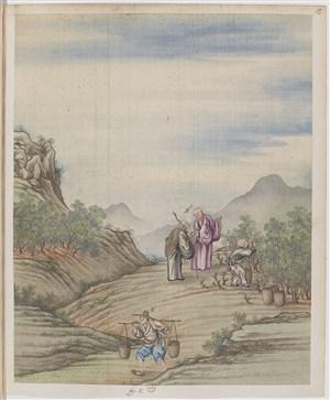 古代僧人问路制茶贸易场景绘画图片