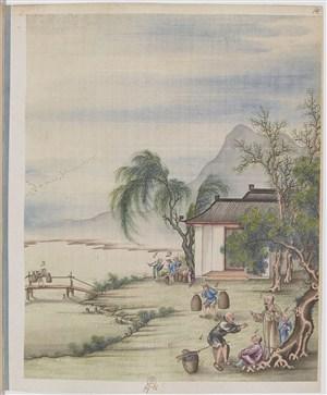古代工农干活制茶贸易场景绘画图片