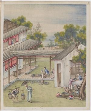 古代茶作坊制茶贸易场景工笔绘画图片