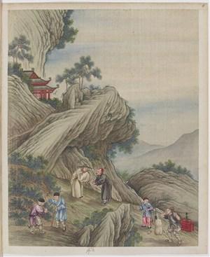 古代官员来勘察茶叶制茶贸易场景绘画图片