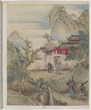 古代山中房屋制茶贸易场景绘画图片