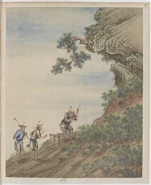 古代老人爬山制茶贸易场景绘画图片