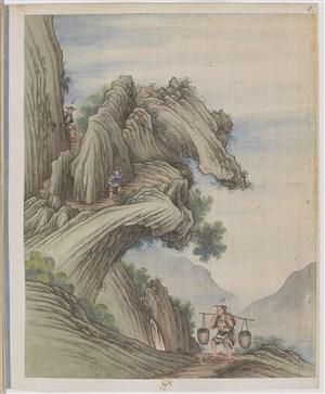 古代峭壁高山爬山制茶贸易场景绘画图片