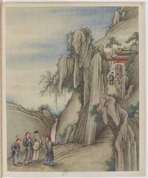 古代官老爷去深山拜访制茶贸易场景绘画图片