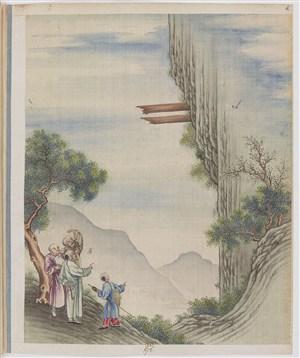 古代奇异怪木制茶贸易场景绘画图片
