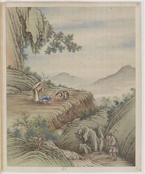 古代农夫种地种茶叶制茶贸易场景绘画图片