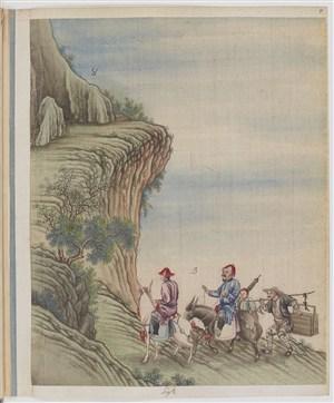 古代骑马走山路制茶贸易场景绘画图片