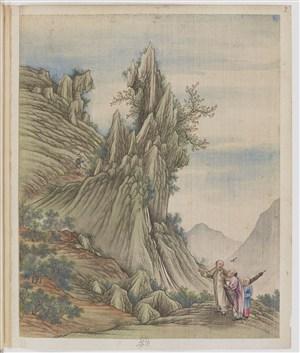 古代书生爬山制茶贸易场景绘画图片