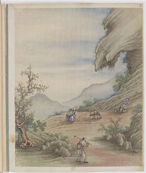 古代多人种地制茶贸易场景绘画图片