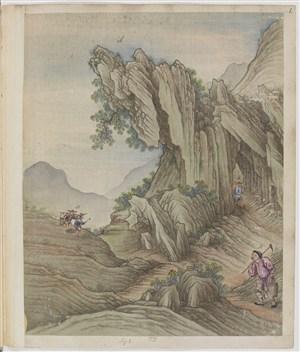 崎岖深山古代制茶贸易场景绘画图片