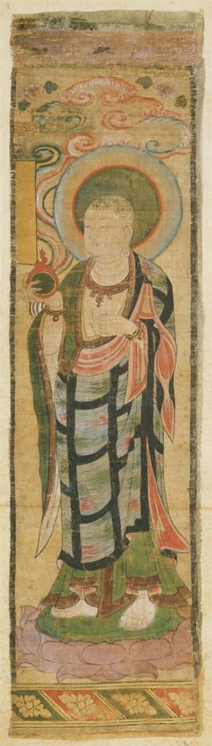 光头和尚敦煌佛像壁画绘画图片