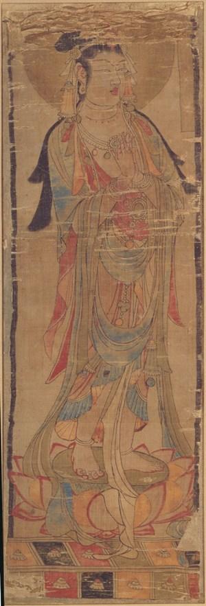 长发菩萨双手合十敦煌佛像壁画绘画图片
