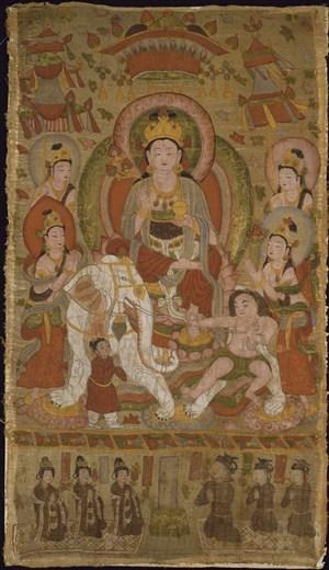 大象上的菩萨敦煌佛像壁画绘画图片