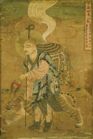 盲僧与虎敦煌佛像壁画绘画图片