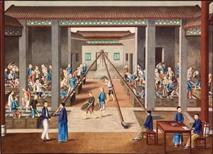古代茶叶作坊集市贸易场景绘画图片