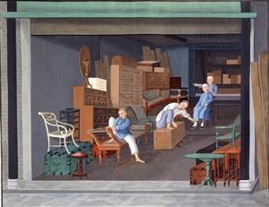 古代仓库里集市贸易场景绘画图片