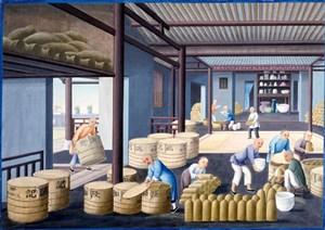 古代瓷器打包集市貿易場景繪畫圖片