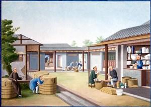 古代清洁物品集市贸易场景绘画图片