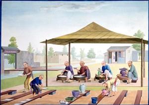 古代户外制陶瓷集市贸易场景绘画图片