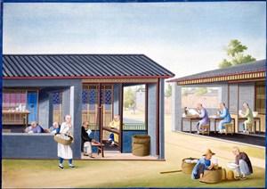 古代瓷器厂集市贸易场景绘画图片